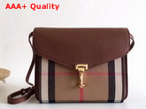 Burberry Small Leather and House Check Crossbody Bag Tan Replica