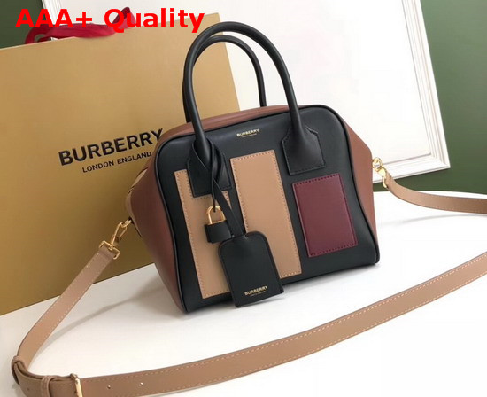 Burberry Small Panelled Leather Cube Bag Black Replica