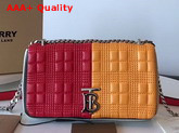 Burberry Small Quilted Check Colour Block Lambskin Lola Bag Bright Red and Orange Replica