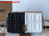 Burberry Small Quilted Check Two Tone Lambskin Lola Bag White and Black Replica