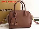 Burberry Small Stripe Intarsia Leather Cube Bag Malt Brown and Pale Blue Replica