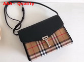 Burberry Small Vintage Check and Leather Crossbody Bag Black Replica