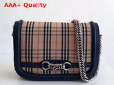 Burberry The 1983 Check Link Bag with Leather Trim Ink Blue Replica