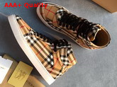 Burberry Vintage Check Cotton High Top Sneakers Antique Yellow Replica