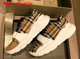 Burberry Vintage Check Cotton Sneakers with an Accentuated Tread Antique Yellow Replica
