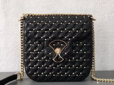 Bvlgari Flap Cover Divas Dream in Black Nappa Leather Featuring a Quilted Motif Medium Model For Sale