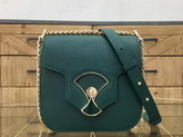 Bvlgari Flap Cover Divas Dream in Forest Emerald Smooth Calf Leather and Shiny Grain Calf Leather Small Model For Sale