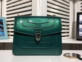 Bvlgari Serpenti Forever Flap Cover Bag in Emerald Green Metallic Calf Leather For Sale