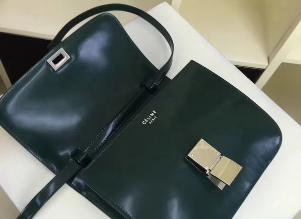 Celine Box in Green Smooth Calfskin with Silver Hardware For Sale