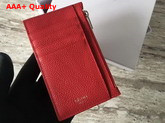 Celine Compact Card Holder in Drummed Calfskin Red Replica