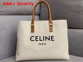 Celine Horizontal Cabas Celine in Canvas with Celine Print and Calfskin Natural and Tan Replica
