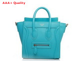 Celine Nano Luggage Handbag in Turquoise Leather for Sale
