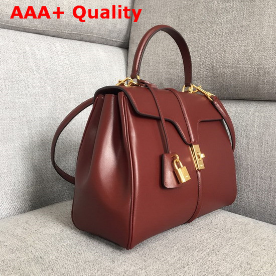 Celine Medium 16 Bag in Satinated Calfskin Light Burgundy Replica