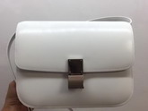Celine Medium Box Bag in White Box Leather with Silver Hardwares For Sale