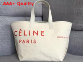 Celine Medium Made in Tote in Textile Natural and Red Replica