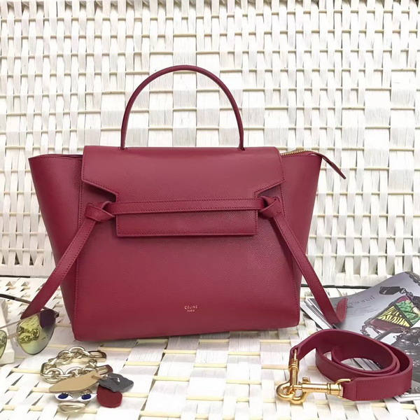 Celine Micro Belt Handbag in Dark Red Grained Calfskin For Sale