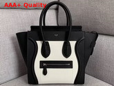 Celine Micro Luggage Handbag in Black and White Grained Calfskin Replica