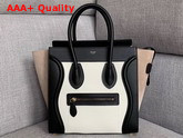Celine Micro Luggage Handbag in Suede and Calfskin Beige Black and White Replica