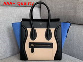 Celine Micro Luggage Handbag in Suede and Calfskin Blue Black and Beige Replica