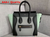 Celine Micro Luggage Handbag in Suede and Calfskin Mint Green Black and Grey Replica