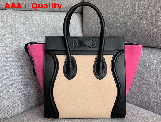 Celine Micro Luggage Handbag in Suede and Calfskin Rose Black and Beige Replica