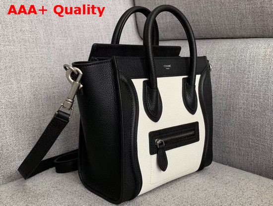Celine Nano Luggage Bag White and Black Drummed Calfskin Replica