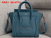 Celine Nano Luggage Bag in Blue Drummed Calfskin Replica