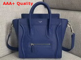 Celine Nano Luggage Bag in Electronic Blue Drummed Calfskin Replica