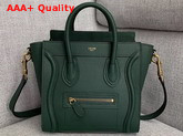 Celine Nano Luggage Bag in Green Drummed Calfskin Replica