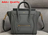 Celine Nano Luggage Bag in Grey Drummed Calfskin Replica