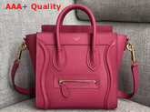 Celine Nano Luggage Bag in Pink Drummed Calfskin Replica