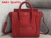 Celine Nano Luggage Bag in Red Drummed Calfskin Replica