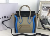 Celine Nano Luggage Handbag in Multicolour Smooth Calfskin Grey Black Blue for Sale