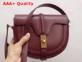 Celine Small Besace 16 Bag in Light Burgundy Satinated Calfskin Replica