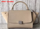 Celine Small Trapeze Bag in Beige Grained Calfskin and Suede Calfskin Replica