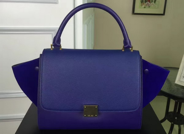 Celine Small Trapeze Handbag in Blue Smooth Calfskin and Suede Calfskin for Sale