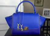 Celine Small Trapeze Handbag in Blue Smooth Calfskin for Sale