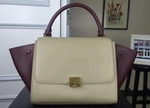 Celine Small Trapeze Handbag in Light Grey and Bordeaux Smooth Calfskin for Sale