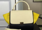 Celine Small Trapeze Handbag in Multicolour Smooth Calfskin Beige Black Yellow for Sale