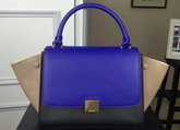 Celine Small Trapeze Handbag in Multicolour Smooth Calfskin Blue Black Beige for Sale