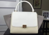 Celine Small Trapeze Handbag in Multicolour Smooth Calfskin White Beige Grey for Sale