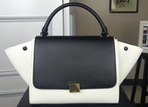 Celine Small Trapeze Handbag in White and Black Smooth Calfskin for Sale
