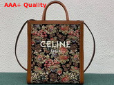 Celine Small Vertical Cabas Celine in Floral Jacquard and Calfskin Replica