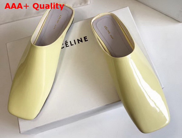 Celine Soft Moccasin Babouche in Yellow Patent Calfskin Replica