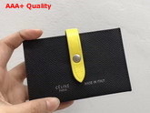 Celine Strap Card Holder in Grained and Shiny Calfskin Black and Yellow Replica