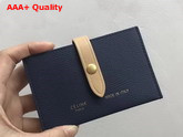 Celine Strap Card Holder in Grained and Shiny Calfskin Navy and Beige Replica