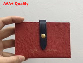 Celine Strap Card Holder in Grained and Shiny Calfskin Red and Black Replica