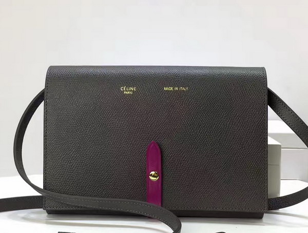 Celine Strap Clutch in Stone Grained and Plum Shiny Calfskin For Sale
