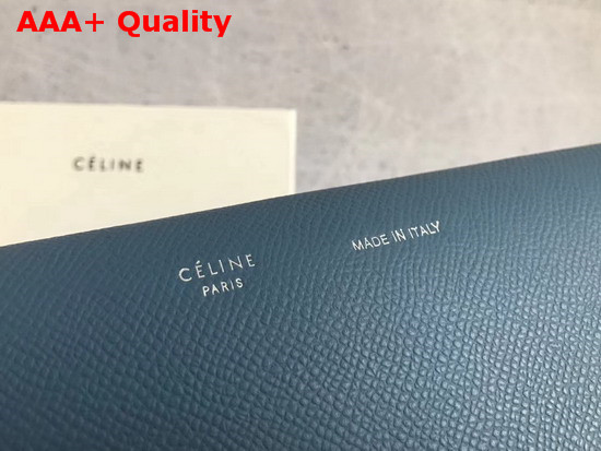 Celine Strap Wallet in Slate Grained and Shiny Calfskin Replica