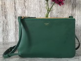 Celine Trio Bag in Green Calfskin Liege For Sale